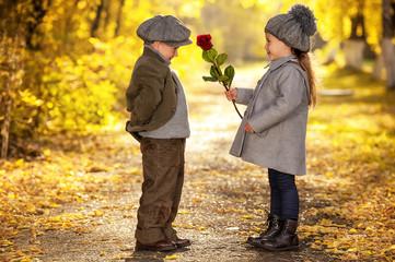 Autumn romantic girl and boy