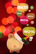 Piggy bank with speech bubbles. Christmas sale concept