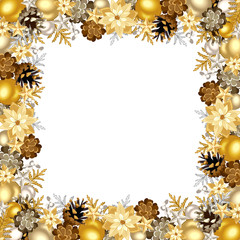 Christmas frame with gold and silver balls. Vector illustration.