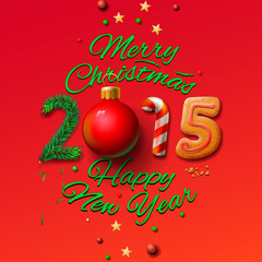 Happy New Year 2015 Greeting Card and Merry Christmas