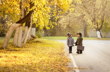 Autumn romantic journey of two young children
