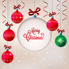 Christmas background with blank paper cut ball
