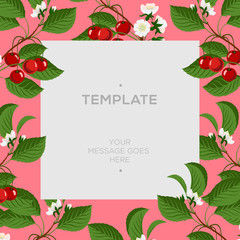 Floral spring template with cherry berries and blossom branch