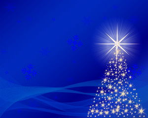 Tree of Lights Over a Blue Background