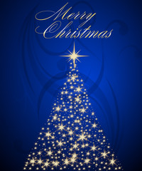 Dark Blue Background with a Brightly Lit Tree