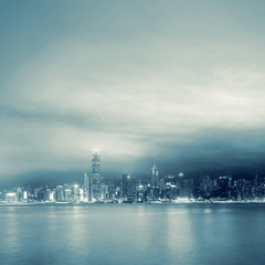night scenes of Victoria harbor
