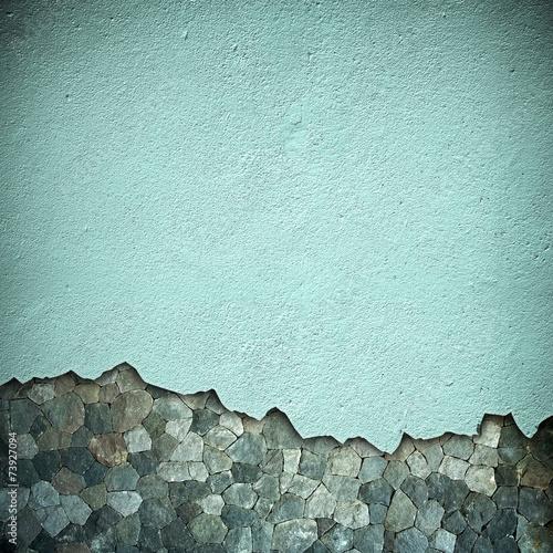 Leinwanddruck Bild damaged stone wall