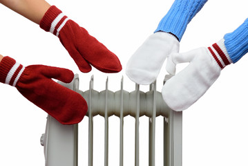 two people bask near the oil cooler gloves. isolation on white