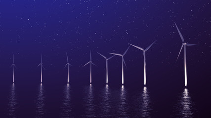Wind gererators at night