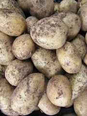 Potatoes at the greengrocer on the market place