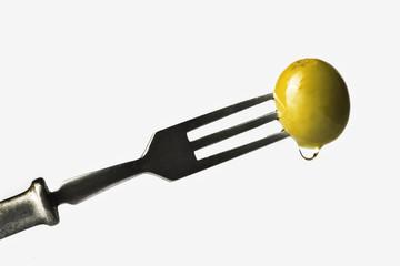 Olive on a fork
