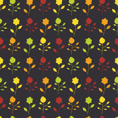 Seamless pattern of colorful painted flowers on a dark