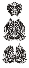 Flaming wings in tribal style