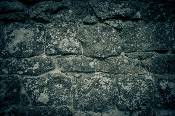 wall of natural stone with lichen