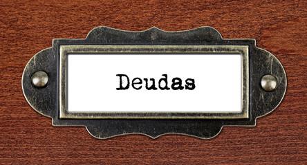 Debts - file cabinet label
