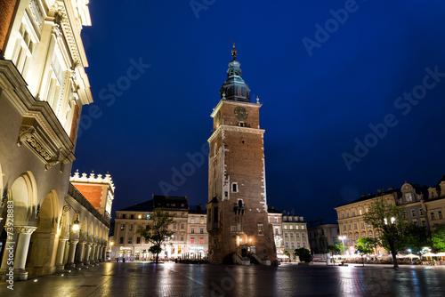 canvas print picture Tuchhallen und Rathausturm in Krakau