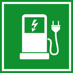 Electric car filling station sign