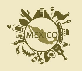 Traditional symbols of culture, the nature and food of Mexico
