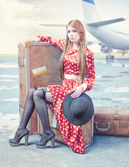 woman, waiting in an airport.