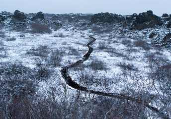 black footpath and snow
