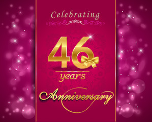 46 year celebration sparkling card, 46th anniversary