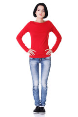 Full length woman posing with hands on hip