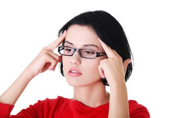 Portrait of worried woman in eyewear