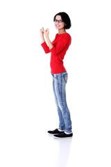Side view woman in a winner gesture