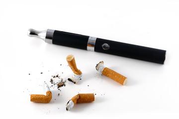 e-cigarette and cigarette butts