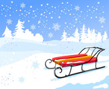 winter landscape with vintage sled