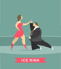 man and woman dancing on ice