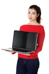 Student woman showing her laptop