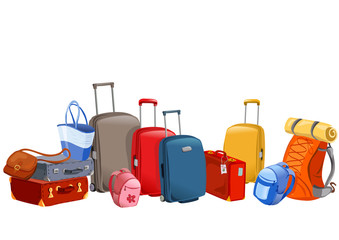 banner with luggage, suitcases, backpacks, packages