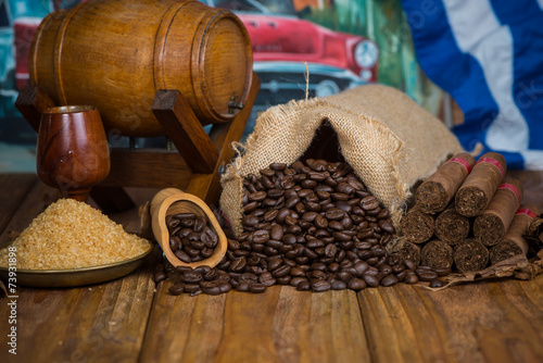Fotobehang Caraïben Authentic Cuban organic farm products on wooden background