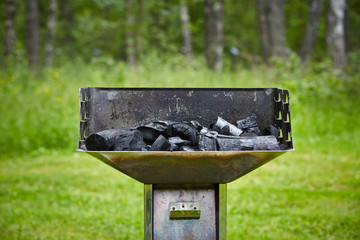 charcoal in grill