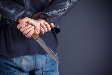 man hands with knife
