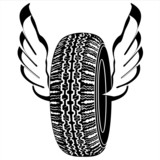 Logo tire with wings for road transport