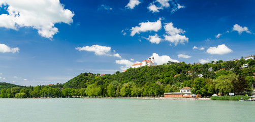 View to the benedictine abbey in Tihany, Hungary