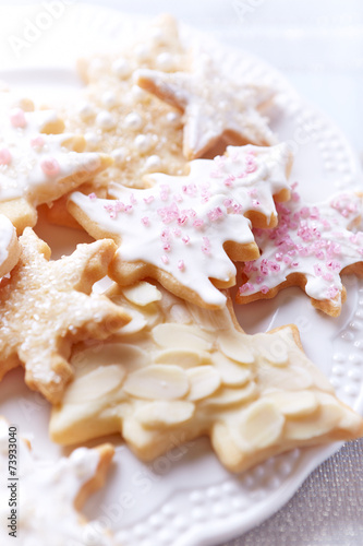 canvas print picture Iced Christmas cookies with sugar pearls