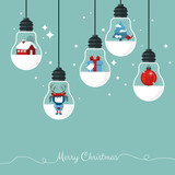 Modern Christmas greeting card with hanging light bulbs poster
