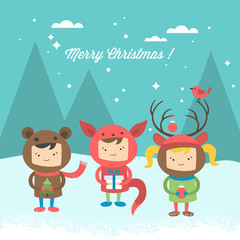 Christmas greeting card design with cute kids wearing costumes