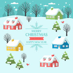 Christmas greeting card design with country landscape