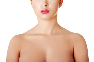 Close up on nude woman chest