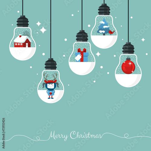 Modern Christmas greeting card with hanging light bulbs - 73933426