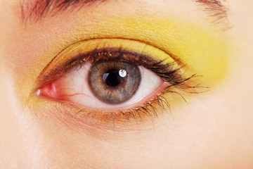 Close up on woman eye with an artistic makeup