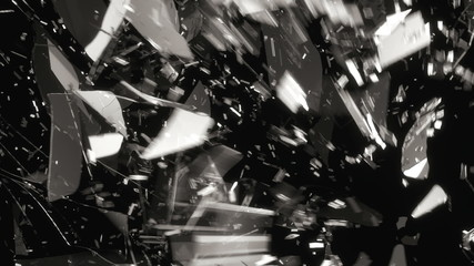 Glass shattered and broken slow motion and motion blur. Alpha