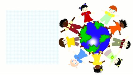 Children of different races spinning on a green planet