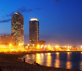 Beach and towers of Port Olimpic  in Barcelona