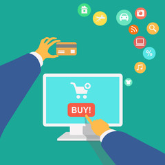 illustration poster concept with icons of buying product online