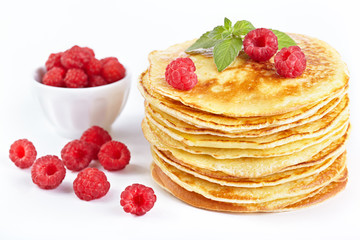 Pancakes with raspberry